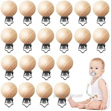 24 Pieces Natural Beech Wood Pacifier Clips Teething Grasping Toy Suspender Clips Charm DIY Pacifier Clips Holder Accessories
