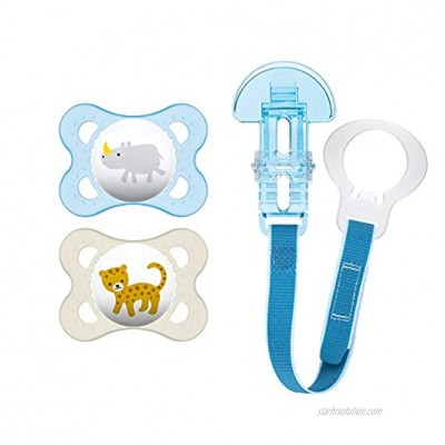 MAM Pacifier and MAM Pacifier Clip Value Pack 2 Pacifiers & 1 Clip Pacifiers 0-6 Months for Baby Boy Baby Pacifiers Animals Design Baby Pacifier Clips