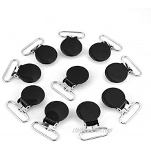 KUIDAMOS 10Pcs Suspender Clips,Pacifier Suspender Clips for Making Pacifier Holders Bib Clips Toy Holder Silver,Multi-use Metal Pacifier Clips Black