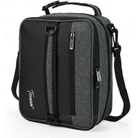 Expandable Insulated Lunch Bag Leakproof Flat Lunch Cooler Tote with Shoulder Strap for Men and Women Suitable for Work & Office by Tirrinia Charcoal