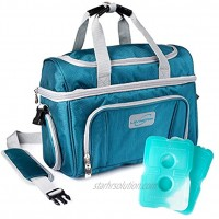 Lunch box For Men Insulated cooler Lunch bag w  3 compartment Detachable Shoulder Strap + 2 Ice Packs. Strong SBS Zippers Great gifts For Men Teal Large