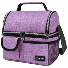 OPUX Insulated Dual Compartment Lunch Bag for Women | Double Deck Reusable Lunch Pail Cooler Bag with Shoulder Strap Soft Leakproof Liner | Large Lunch Box Tote for Work School Purple