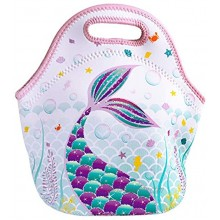 WERNNSAI Mermaid Lunch Bag Neoprene Insulated Lunch Tote Bag for School Outdoor Picnic Shopping Reusable Waterproof Lunch Handbag with Zipper Best Gifts