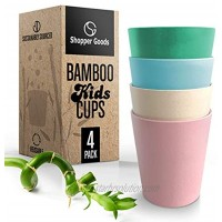 Bamboo Kids Toddler Cups Multi-Color 4 Pack 10 Oz | Eco-Friendly | Baby Safe Drinking Cups Sippy Cup No Lid | Non-Plastic Bamboo Fibers