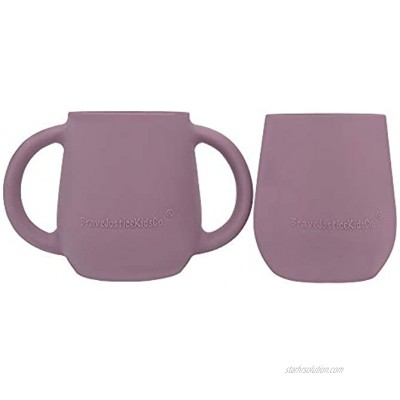 BraveJusticeKidsCo. | Itty Bitty Transitional Training Silicone Baby Drinking Cups 2 pack Mauve