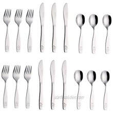 Exzact Stainless Steel 18 Pieces Childrens Flatware Kids Silverware Cutlery Set 6 x Safe Forks 6 x Safe Table Knives 6 x Tablespoons Safe Toddler Utensils Engraved Dog Cat Bunny