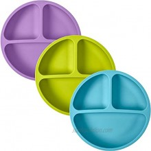 100% Silicone Plates for Toddlers | 3 Pc Set | Divided Baby Plates | Non-Toxic BPA Free | Dishwasher Microwave Safe Bright Green Blue & Purple Without Lids