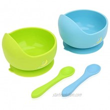 Baby Bowl and Spoon Set 2 Piece Pack Silicone Toddlers Bowls Feeding Set Includes Training Suction Bowls and Spoon Dishwasher Safe