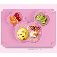 Cute Apple Shaped Divided Kids Child Feeding Plate for Dinner Table Baby Toddlers Desk Mat Waterproof No Slip Portable Reusable Silicone Placemats