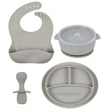 LoveyLu Silicone Feeding Set Silicone Baby Feeding Utensils Plates Bowls & Bibs | Toddler Silicone Divided Plate & Placemat | Baby Essentials | Dishwasher Safe Dishes Boys & Girls 4 Piece Grey