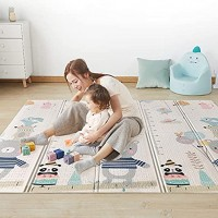 0.6 inch Thicker Foldable Baby Floor Mat Kidsclub Large Baby Play Mat 77'' x 70'' Waterproof Reversible Crawl Mat for Toddlers Infants Easy Portable and Multi-Functional XPE Foam Mat Bear