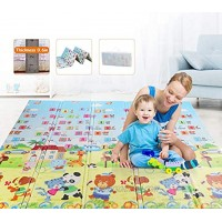 Baby Playmat Foldable Play mat Crawl Mat Reversible Waterproof Portable Double Sides for Infants Kids and Adults. XPE Material Non-Toxic 76 x 70 x 0.6