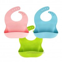 3 Pack Silicone Baby Bib for Babies & Toddlers 6-72 Months Waterproof BPA Free Green Pink and Blue Easy Wipe Clean