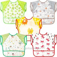 5 Pieces Waterproof Baby Bibs Sleeveless Toddler Bibs Mess Proof Apron Bibs Cute Animals Baby Feeding Bibs with Flipped Pocket Unisex Design for 6-24 Months Baby Infant Toddler