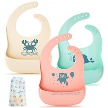 Silicone Bibs HyperSun 3 Pack Silicone Baby Bib for Babies & toddlers Adjustable Fit Waterproof Soft Easy Wipe Silicone Baby Feeding Bib