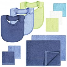 Hudson Baby Unisex Baby Rayon from Bamboo Bib Burp Cloth and Washcloth 10Pk Blue Lime One Size