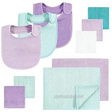 Hudson Baby Unisex Baby Rayon from Bamboo Bib Burp Cloth and Washcloth 10Pk Purple Mint One Size