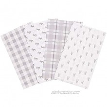 Stag and Moose 4 Pack Flannel Baby Burp Cloth Set Grey Forest Animals 100% Cotton