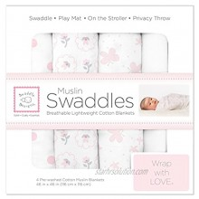SwaddleDesigns Cotton Muslin Swaddle Blankets Set of 4 Pastel Pink Butterflies and Posies