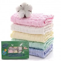 Baby Muslin Burp Cloths Unisex- Set of 5- Muslin Washcloths for Boys and Girls -100% Muslin Cotton 6 Layers -Newborn Burping Napkins Saliva Wipes Baby Face Towels -10'x 20' inches Multicolored