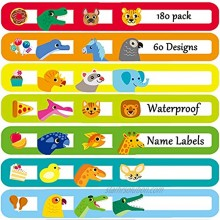 Youngever 180 Pack Baby Bottle Labels for Daycare Waterproof Self-Lamination Write-on 60 Fun Design