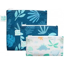3 Pack Waterproof Reusable Zippered Small Snack & Large Sandwich Bags Blue Tropic & Dinosaurs