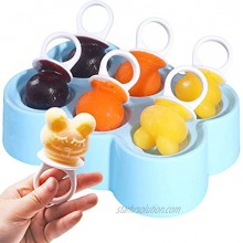Small Ice Pop Molds Animal Shape Reusable DIY Ice Cream Maker Popsicle Molds BPA Free [Cavity of 6] Funny Cute Pop Molds With Sticks Pacifier Blue