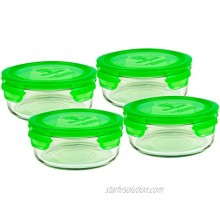 Wean Green 4 Pack Meal Bowls 22 Ounce Large Tempered Glass Leak-proof Bowls Pea