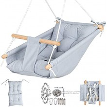 Canvas Baby Hammock Swing by Cateam Gray Wooden Hanging Swing Seat Chair for Baby with 5-Point Safety Belt and mounting Hardware. Baby Hammock Chair Birthday Gift.