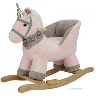 Rock My Baby Rocking Horse with Chair Pink Unicorn Pony Rocker. Rocking Animal. Wooden Rocking Horse Baby Animal Rocker for Girls Age 1 Year and up