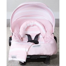 Carseat Canopy 5 pc Whole Caboodle Jersey Stretch Pink Stripes