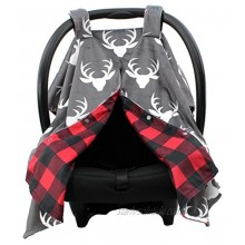 Dear Baby Gear Deluxe Reversible Car Seat Canopy Custom Minky Print Plaid White Antlers Red and Black Buffalo Plaid Minky
