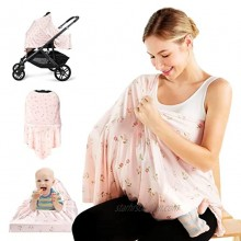Nursing Cover for Breastfeeding Momcozy Carseat Canopy Privacy Breastfeeding Cover Nursing Poncho Baby Car Seat Cover Ultra Soft Floral Scarf Stroller Cover for Baby and Mom Pink
