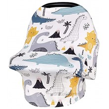 YIVEKO Stretchy Baby Car Seat Cover for Boys Girls Nursing Covers for Breastfeeding Shopping Cart High Chair Stroller Covers Baby Car Seat Canopy Breastfeeding Cover-Dinosaur