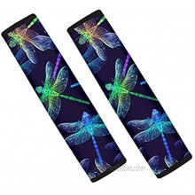 SEANATIVE Car Seat Belt Cover Pad 2-Pack Soft Car Safety Seat Belt Strap Shoulder Pad with Colorful Dragonfly for Adults and Children Suitable for Car Seat Belt Backpack 2 Piece