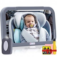 Baby Car Mirror with Light Innokids Dual Mode LED Lighting by Remote Control Clear View of Infant in Rear Facing Back Seat While Night Driving Gray