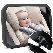 Funbliss Baby Car Mirror,Car Mirror Baby Rear Facing Seat Shatter-Proof Acrylic Baby Mirror for Car No Assembly Required Safety and 360 Degree Adjustability Black