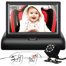 Shynerk Baby Car Mirror 4.3'' HD Night Vision Function Car Mirror Display Safety Car Seat Mirror Camera Monitored Mirror with Wide Crystal Clear View Aimed at Baby Easily Observe the Baby's Move