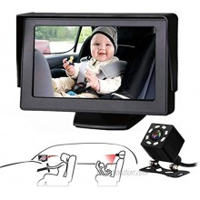 VEKOOTO Baby Car Mirror with Night Vision for Baby Safety Car Seat Rear Facing The 4.3-Inch HD Display Car Baby Monitor with Camera