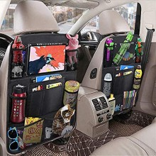 2-Pack Car Backseat Organizer with 10 Clear Screen Tablet Holder and 9 Storage Pockets Seat Back Protectors for Book Toys Drinks Kids Toddler Travel Accessories Car Seat Organizer