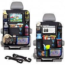 Car Seat Organizer Back Seat with 10 Tablet Holder Adjustable Straps 9 Storage Pockets Kick Mats Car Seat Back Protectors Great Travel Accessories for Kids and Toddlers 2 Pack + 2 Car Headrest Hook