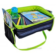 Kids Travel Tray For Car Seat Stroller or Airplane –Really Sturdy Side Walls so nothing falls –Truly Deep and Wide Cup Holder to avoid spills -Keeps Toddlers Happy Entertained and Organized–2 eBooks