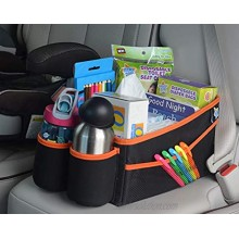 Mighty Clean Car Storage Organizer Use in The Trunk or Front or Back Seat with 8 Side Pockets + 1 Zippered Pouch + 2 mesh Pouches + 2 Cup Holders for Toys Books Drinks Tissues Diapers & More