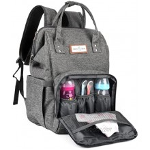 BABY BLISS Diaper Backpack Bag Waterproof & Scratch-free Large Capacity with Insulated Bottle Pockets & USB Charging Port with Changing Mat & Stroller Pram Hooks