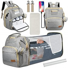 BEYAHELA Diaper Bag Backpack with Changing Station 3 in 1 Baby Diaper Bags for Baby Boy & Girl with Portable Crib Multifunctional-Large Capacity Waterproof Mommy Bag with USB Charging Port Gray