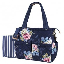 Blue Floral Diaper Bag Tote for Baby Girl Baby Boy Quilted Diaper Bag Tote Purse for Women 3 Pc Set