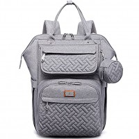 Diaper Bag Backpack BabbleRoo Multifunction Large Baby Bags with Changing Pad & Stroller Straps & Pacifier Case Unisex Stylish Travel Back Pack Nappy Changing Bag for Moms Dads Gray