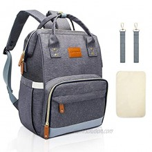 Diaper Bag Backpack Baby Bag with Portable Changing Pad & Stroller Straps Waterproof Multifunction Travel Back Pack for Mom Dad with Insulated Pockets Large Capacity Gray