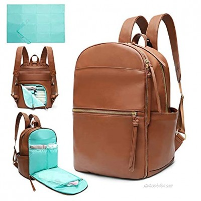 Diaper Bag Backpack Leather Mominside Baby Bag with 6 Insulated Pockets for Mom Dad Baby Registry Search Changing Station Stroller Straps Large Capacity WaterproofBrown
