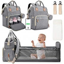 Diaper Bag Backpack with Changing Station Portable Baby Bag Foldable Baby Bed Back Pack Travel Waterproof Large Travel Bag with USB Stroller Straps Insulated Pockets Gift for Mom Dad Light Grey